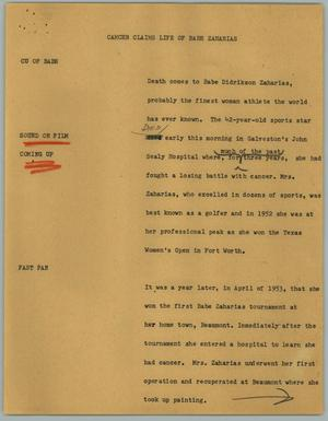 Primary view of object titled '[News Script: Cancer Claims Life of Babe Zaharias]'.