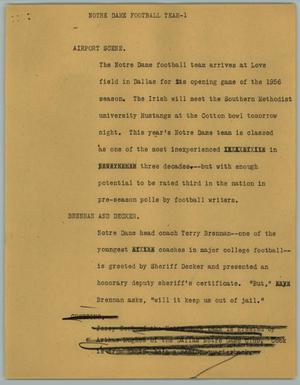Primary view of object titled '[News Script: Notre Dame Football Team]'.