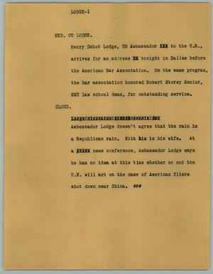 Primary view of object titled '[News Script: Lodge]'.