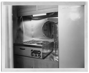 Primary view of object titled '[Oven Range and Percolator in the Kitchenette]'.