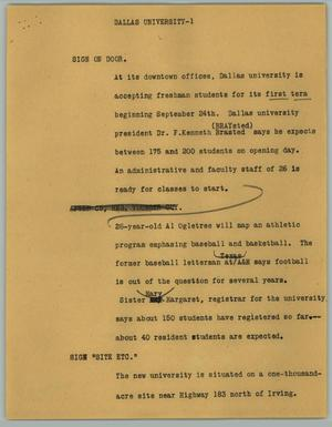 Primary view of object titled '[News Script: Dallas University]'.