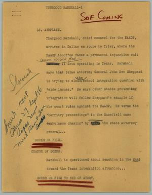 Primary view of object titled '[News Script: Thurgood Marshall]'.