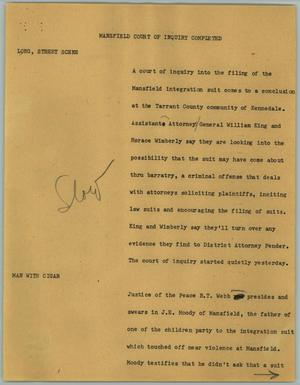 Primary view of object titled '[News Script: Mansfield Court of Inquiry Completed]'.