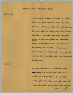 Primary view of object titled '[News Script: Youth's Career as Hijacker is Brief]'.