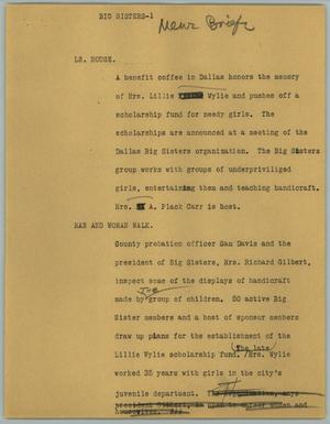 Primary view of object titled '[News Script: Big Sisters]'.