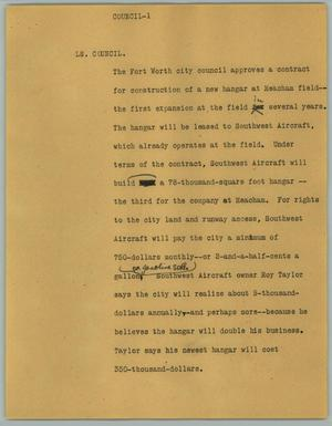 Primary view of object titled '[News Script: LS. Council]'.
