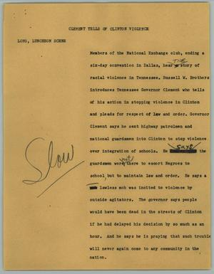 Primary view of object titled '[News Script: Clement Tells of Clinton Violence]'.