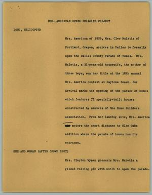 Primary view of object titled '[News Script: Mrs. American Opens Building Project]'.