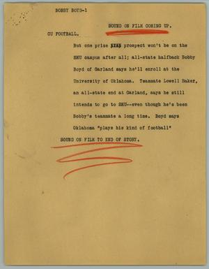 Primary view of object titled '[News Script: Bobby Boyd]'.