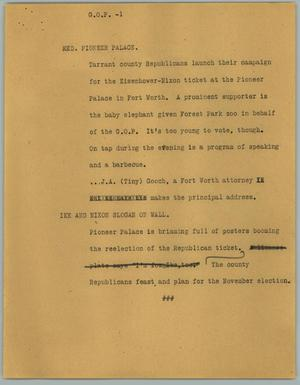 Primary view of object titled '[News Script: G.O.P.]'.