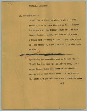 Primary view of object titled '[News Script: Football Luncheon]'.
