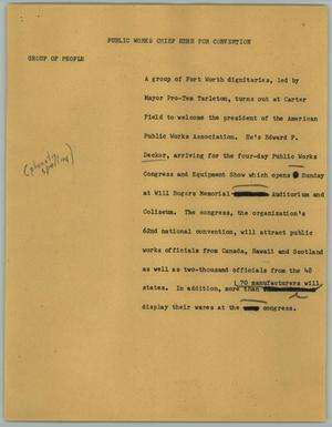 Primary view of object titled '[News Script: Public Works Chief Here for Convention]'.