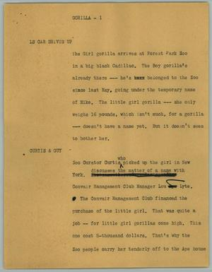 Primary view of object titled '[News Script: Gorilla]'.