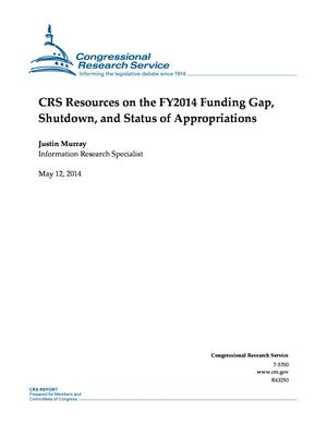 CRS Resources on the FY2014 Funding Gap, Shutdown, and Status of Appropriations