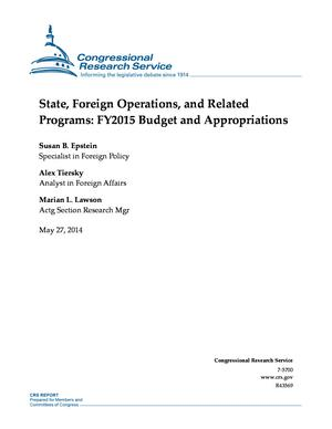 State, Foreign Operations, and Related Programs: FY2015 Budget and Appropriations