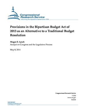 Provisions in the Bipartisan Budget Act of 2013 as an Alternative to a Traditional Budget Resolution