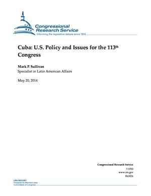 Cuba: U.S. Policy and Issues for the 113th Congress
