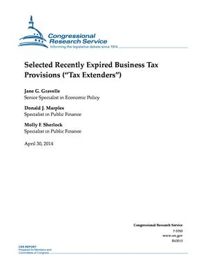 "Selected Recently Expired Business Tax Provisions (""Tax Extenders"")"