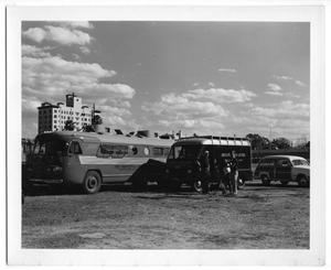 Primary view of object titled '[Princeton Film Center Bus and Crew in Venezuela]'.