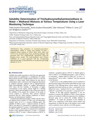 Primary view of object titled 'Solubility Determination of Tris(hydroxymethyl)aminomethane in Water + Methanol Mixtures at Various Temperatures Using a Laser Monitoring Technique'.