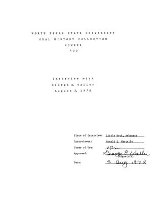 Primary view of object titled 'Oral History Interview with George E. Waller, August 5, 1978'.