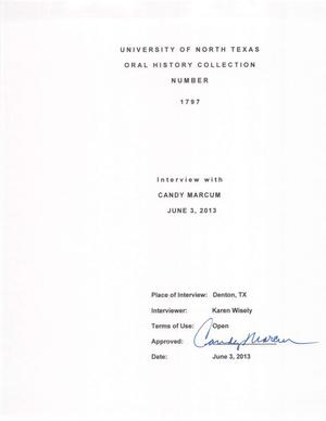 Primary view of object titled 'Oral History Interview with Candy Marcum, June 3, 2013'.