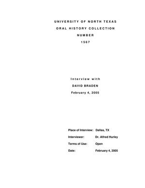 Primary view of object titled 'Oral History Interview with David Braden, February 4, 2005'.