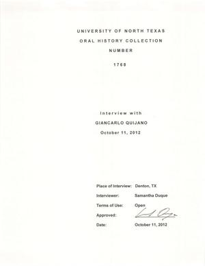 Primary view of object titled 'Oral History Interview with Giancarlo Quijano, October 11, 2012'.