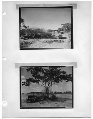 Primary view of object titled '[Princeton Film Center Vehicles on the Road] and [Station Wagon Beneath Tree]'.