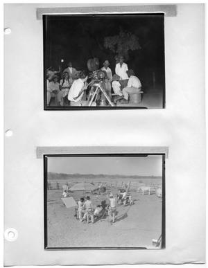 Primary view of object titled '[Filming at Night] and [Filming in a Corrale]'.