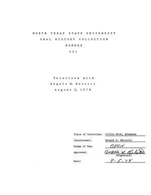 Primary view of object titled 'Oral History Interview with Angelo H. Belotti, August 5, 1978'.