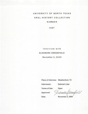 Primary view of object titled 'Oral History Interview with Eleonore Greenfield, November 2, 2009'.