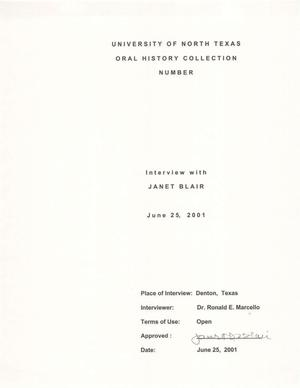 Primary view of object titled 'Oral History Interview with Janet Blair, June 25, 2001'.