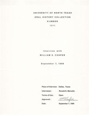 Oral History Interview with William E. Cooper, September 7, 1999