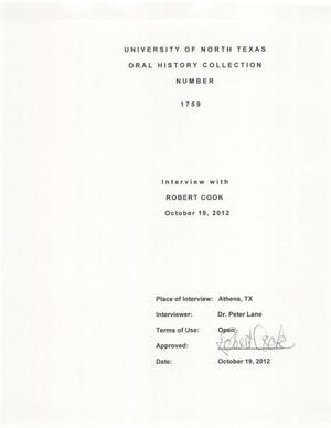 Primary view of object titled 'Oral History Interview with Robert Cook, October 19, 2012'.
