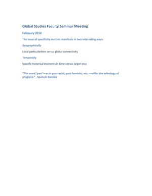 Primary view of object titled 'Global Studies Faculty Seminar: February 2014 Meeting Minutes'.