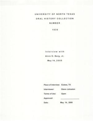 Primary view of object titled 'Oral History Interview with Alvin O. Berg, Jr., May 14, 2005'.