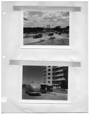 Primary view of object titled '[Custom Vehicles With Bridge Beyond] and [Custom Vehicles Parked Outside Hospital]'.