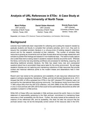 Primary view of object titled 'Analysis of URL References in ETDs: A Case Study at the University of North Texas'.
