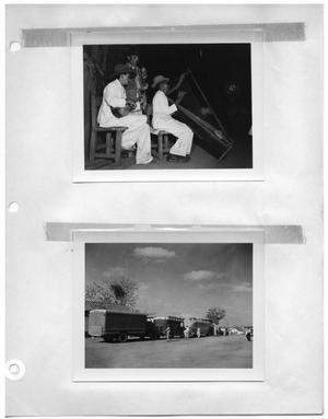 Primary view of object titled '[Musicians] and [Crew and Vehicles in Town]'.