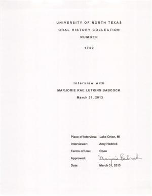 Primary view of object titled 'Oral History Interview with Marjorie Rae Lutkins Babcock, March 31, 2013'.