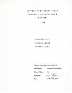 Primary view of object titled 'Oral History Interview with Sharon Acierno, October 9, 2007'.