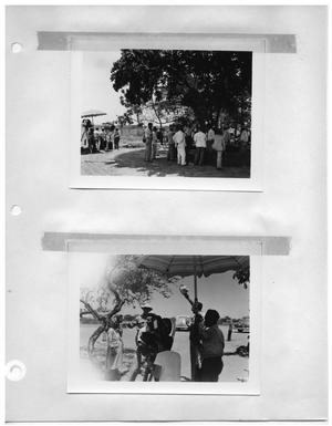 Primary view of object titled '[Filming Scene Under Tree] and [Directing Scene Under Tree]'.
