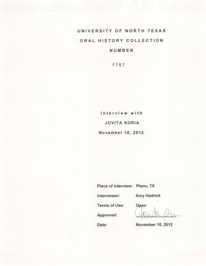 Primary view of object titled 'Oral History Interview with Jovita Soria, November 10, 2012'.