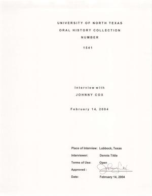 Primary view of object titled 'Oral History Interview with Johnny Cox, February 14, 2004'.