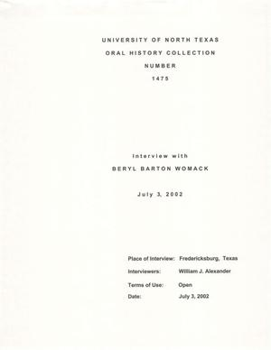 Primary view of object titled 'Oral History Interview with Beryl Barton Womack, July 3, 2002'.