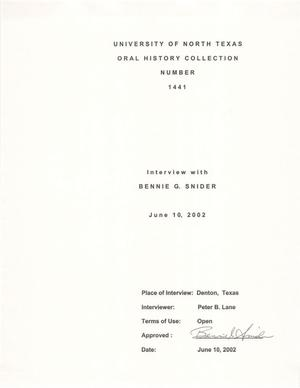 Primary view of object titled 'Oral History Interview with Bennie G. Snider, June 10, 2002'.
