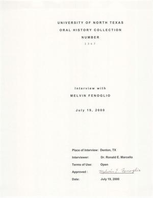 Primary view of object titled 'Oral History Interview with Melvin Fenoglio, July 19, 2000'.
