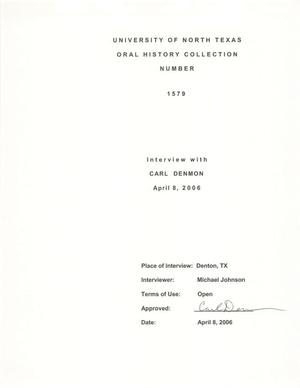 Primary view of object titled 'Oral History Interview with Carl Denmon, April 8, 2006'.