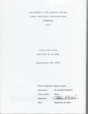 Primary view of object titled 'Oral History Interview with Arthur B. Clark, September 29, 2000'.